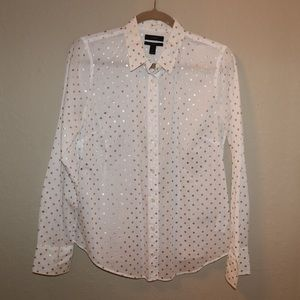 J Crew White Button Up with Gold Polka Dots